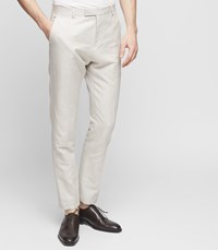 Reiss Chilwa T Slim Fit Cotton Blend Trousers In Natural