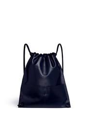 A Esque 'Draw Pack 01' Leather Drawstring Backpack Blue