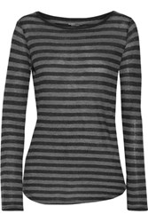 Majestic Striped Cotton And Cashmere Blend Top Gray