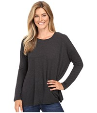 Kut From The Kloth Nikki Draped Top Charcoal Grey Women's Long Sleeve Pullover Gray