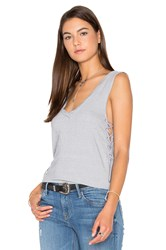 Pam And Gela Side Lace Up V Neck Tank Grey