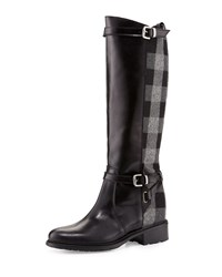 Charles David Pirella Plaid Flat Riding Boot Black Gray Black Grey