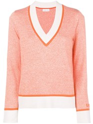 Carven Deep V Neck Knit Sweater Yellow And Orange