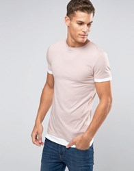 Asos Longline Muscle T Shirt With Contrast Cuff And Hem In Pink Belle