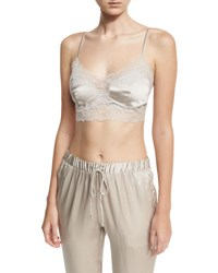 Josie Natori Sleek Silk Blend Crop Camisole Beige