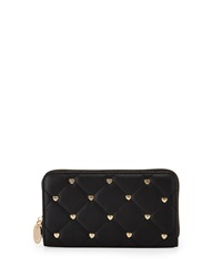 Deux Lux Large Heart Studded Quilted Wallet Black