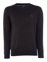 Gant Men's Lightweight Cotton Crew Neck Jumper Charcoal