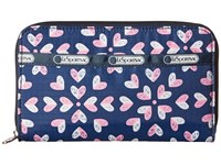 Le Sport Sac Lily Heart Burst Navy Checkbook Wallet Blue