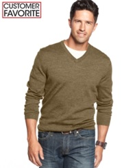 Club Room Big And Tall Merino Blend V Neck Sweater Toasted Caramel Heather