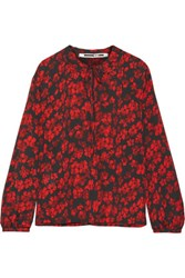 Mcq By Alexander Mcqueen Pintucked Floral Print Silk Crepe De Chine Blouse Black