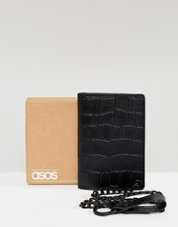 Asos Leather Wallet In Black Crocodile Emboss With Chain Black
