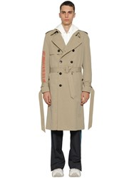 Valentino Double Breasted Cotton Trench Coat Beige