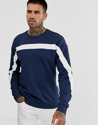 Only And Sons Sweatshirt With Body Stripe Navy