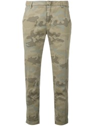 Fay Camouflage Print Tapered Trousers Green