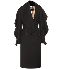 Burberry Asymmetric Wool Twill Coat Black