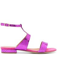 Via Roma 15 Snakeskin Effect Sandals Pink And Purple