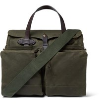 Filson 24 Hour Leather Trimmed Coated Canvas Briefcase Dark Green