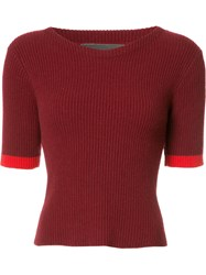 The Elder Statesman Bicolour Knitted T Shirt Red