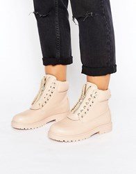 Truffle Collection Chunky Zip Hiker Boot Nude Tumbled Pu Black