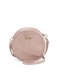 Class Roberto Cavalli Round Diane Studded Leather Crossbody Pink