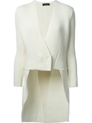 Lutz Huelle Ribbed Wrap Tail Cardi Coat White