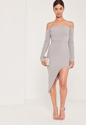 Missguided Ribbed Bardot Asymmetric Wrap Dress Grey Grey