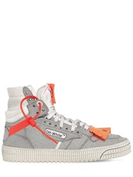 Off White 20Mm Court Glitter Leather Sneakers Silver