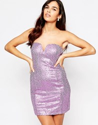 Glamorous Bandeau Dress In Sequins Lilac Sequin Purple