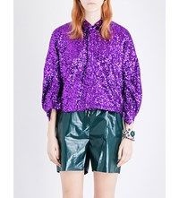 Toga Spangle Sequinned Blouse Pueple