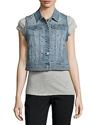 Saks Fifth Avenue Britt Faded Denim Vest Vintage