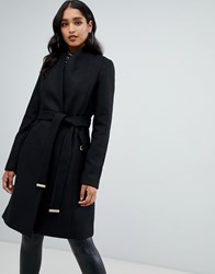 Lipsy Smart Tailored Coat With Belt In Black Black