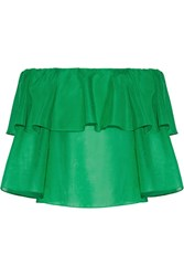 Alice Olivia Meagan Off The Shoulder Ruffled Cotton And Silk Blend Top Green