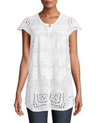 Johnny Was Marietta Cap Sleeve Eyelet Blouse White