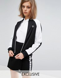 Fred Perry Archive Retro Fitted Zip Jacket With Contrast Sleeve Black White