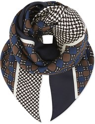 Max Mara Tile Pattern Silk Scarf Brown