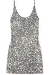 Ashish Sequined Georgette Mini Dress Silver