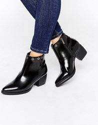 Park Lane Eyelet Mid Heeled Ankle Boots Black Hi Shine
