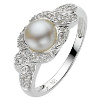 A B Davis Sterling Silver White Pearl Cubic Zirconia Surround Ring N