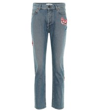 Valentino High Waisted Jeans With Applique Blue