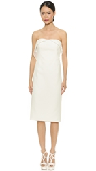 Zac Posen Lace Trim Strapless Dress Ivory