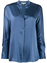 Vince V Neck Silk Blouse Blue