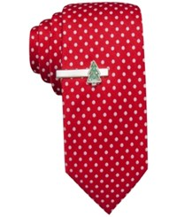 John Ashford Dot Tie And Christmas Tree Tie Bar Red