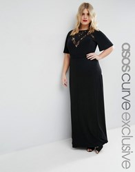 Asos Curve Maxi Dress With Lace Inserts And Flutter Sleeve Black