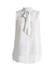 Brunello Cucinelli Fine Striped Tie Neck Sleeveless Top White Stripe