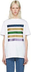 Palm Angels White Glitter Five Stripes T Shirt