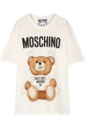 Moschino Oversized Printed Cotton Jersey T Shirt Off White