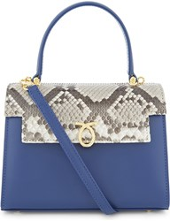 Launer Judi Lizard Leather Tote Natural Python