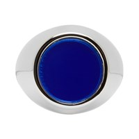 Jil Sander Silver And Blue Flat Mirror Ring