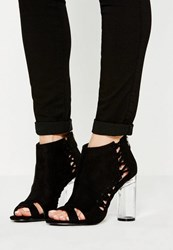Missguided Black Whipstitch Clear Heel Ankle Boots