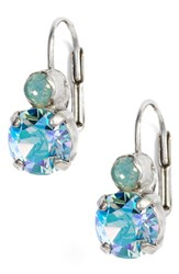 Sorrelli Round Crystal Drop Earrings Iridescent Blue Silver